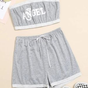 SHEIN Tube Top and Shorts Set